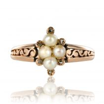 Bague ancienne cathédrale perles fines diamants
