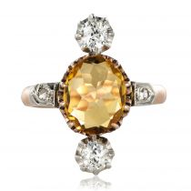 Bague ancienne citrine et diamants