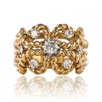 Bague ancienne cordes d\'or et diamants