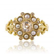 Bague ancienne diamant et perles fines