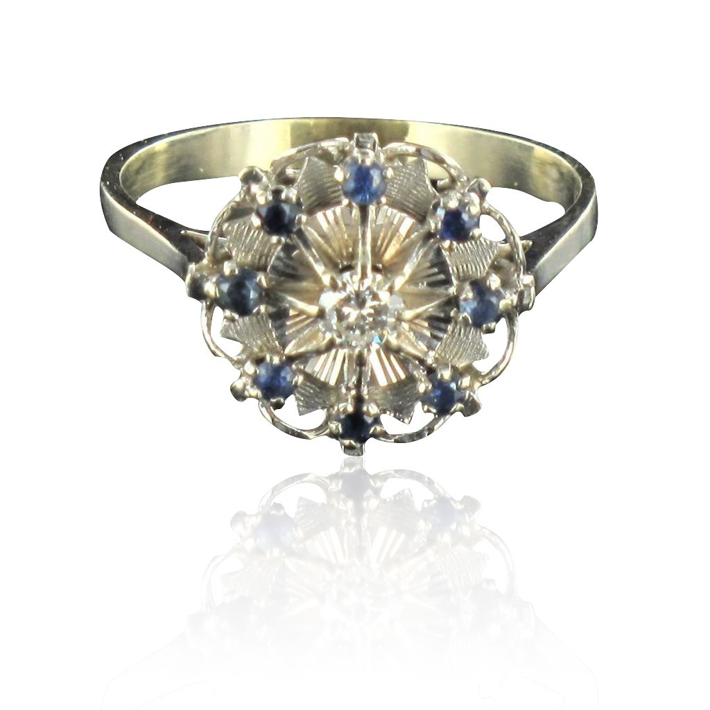 Bague ancienne diamant saphirs