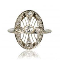 Bague ancienne diamants dentelle