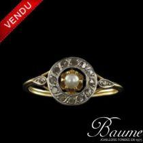 Bague ancienne diamants et perle