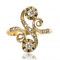 Bague ancienne diamants forme S