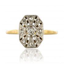 Bague ancienne diamants hexagonale