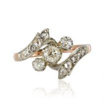 Bague ancienne diamants or rose