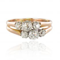 Bague ancienne diamants or rose platine