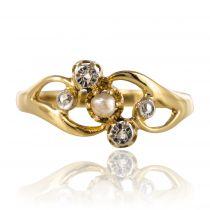 Bague ancienne diamants perle