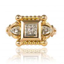 Bague ancienne diamants perlée