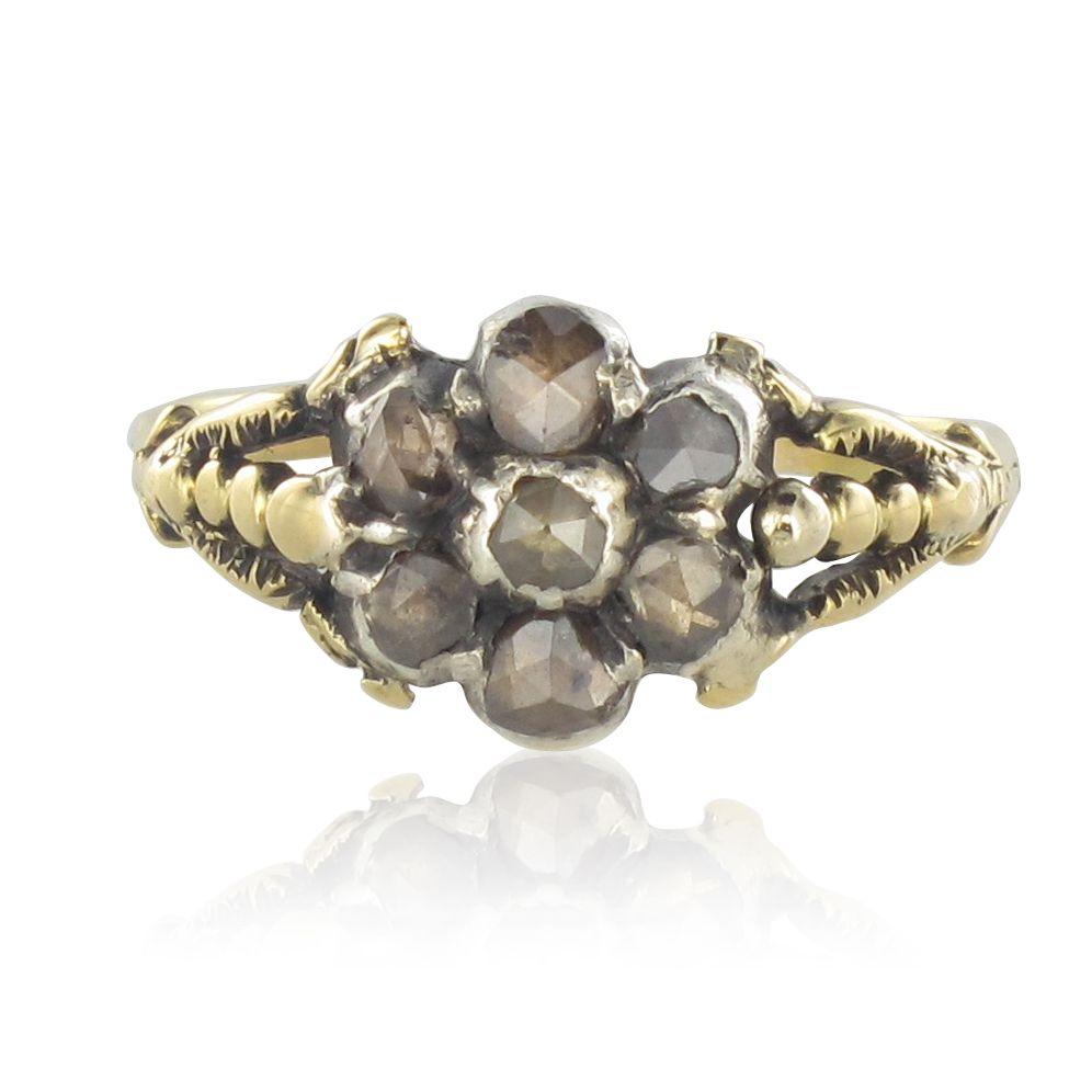 bague ancienne diamants taill s en rose 19 me si cle. Black Bedroom Furniture Sets. Home Design Ideas