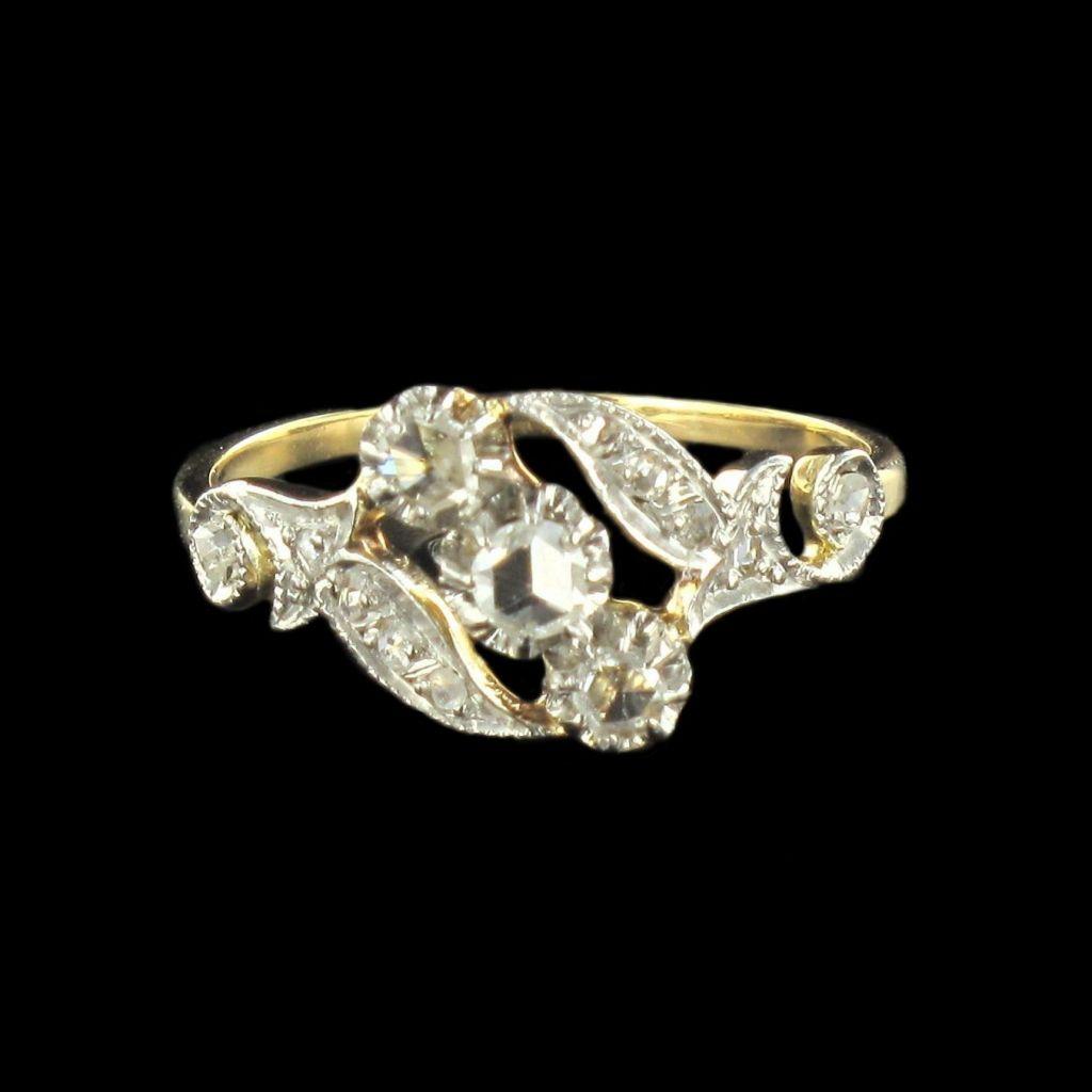 Bague ancienne diamants taillés en rose