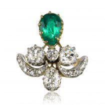 Bague ancienne duchesse émeraude et diamants