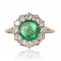Bague ancienne émeraude cabochon diamants