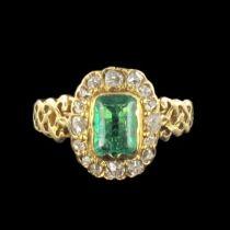 Bague ancienne émeraude et diamants 19ème