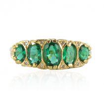 Bague ancienne émeraudes et diamants jarretière