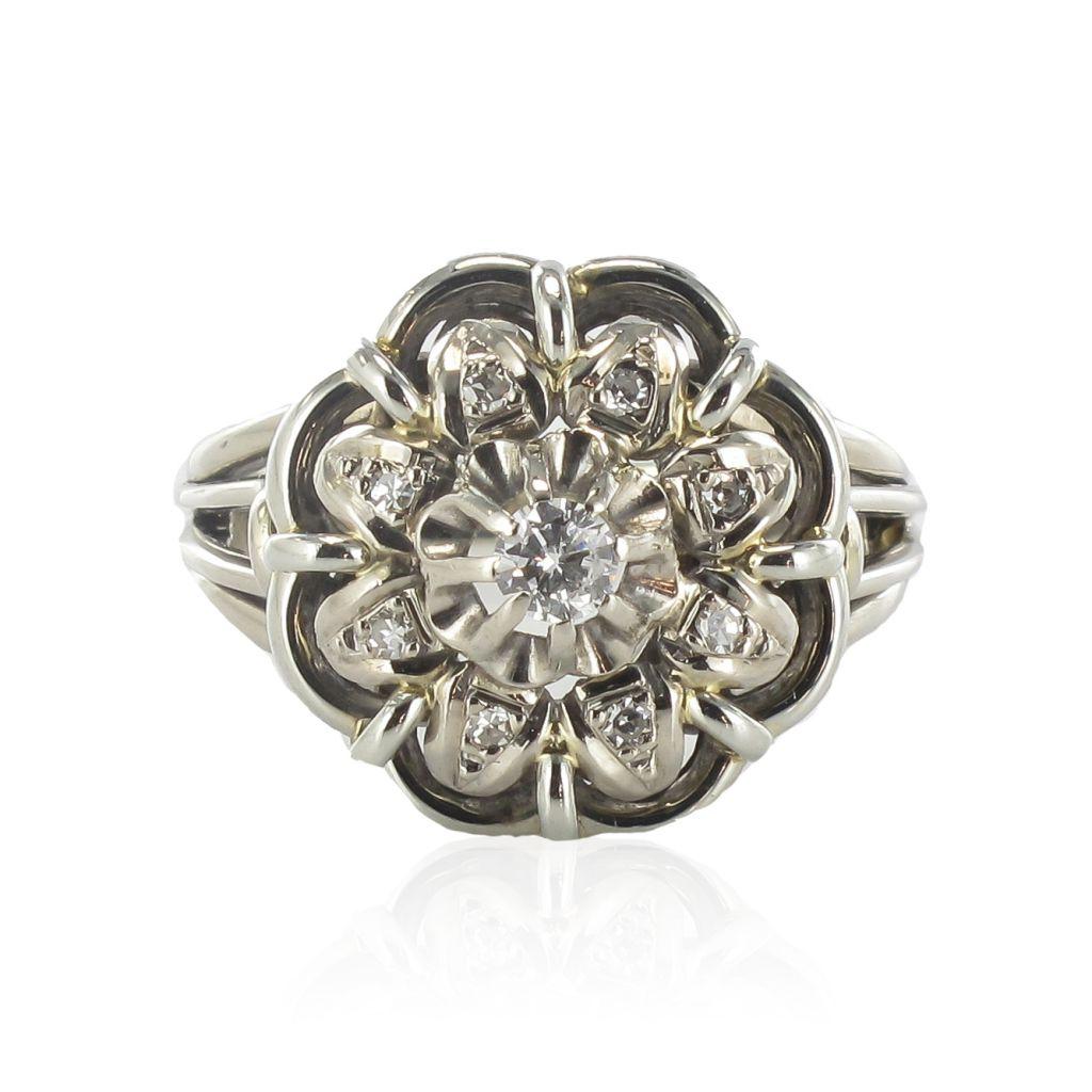 bague ancienne fils d 39 or blanc diamants bijoux anciens. Black Bedroom Furniture Sets. Home Design Ideas