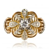 Bague ancienne fils d\'or diamants
