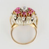 Bague ancienne fleur diamants et rubis