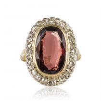 Bague ancienne grenat et diamants taillés en rose