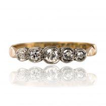 Bague ancienne jarretière 5 diamants