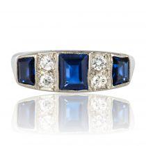 Bague ancienne jarretière saphirs diamants