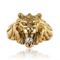Bague ancienne lion diamant