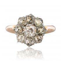 Bague ancienne marguerite de diamants