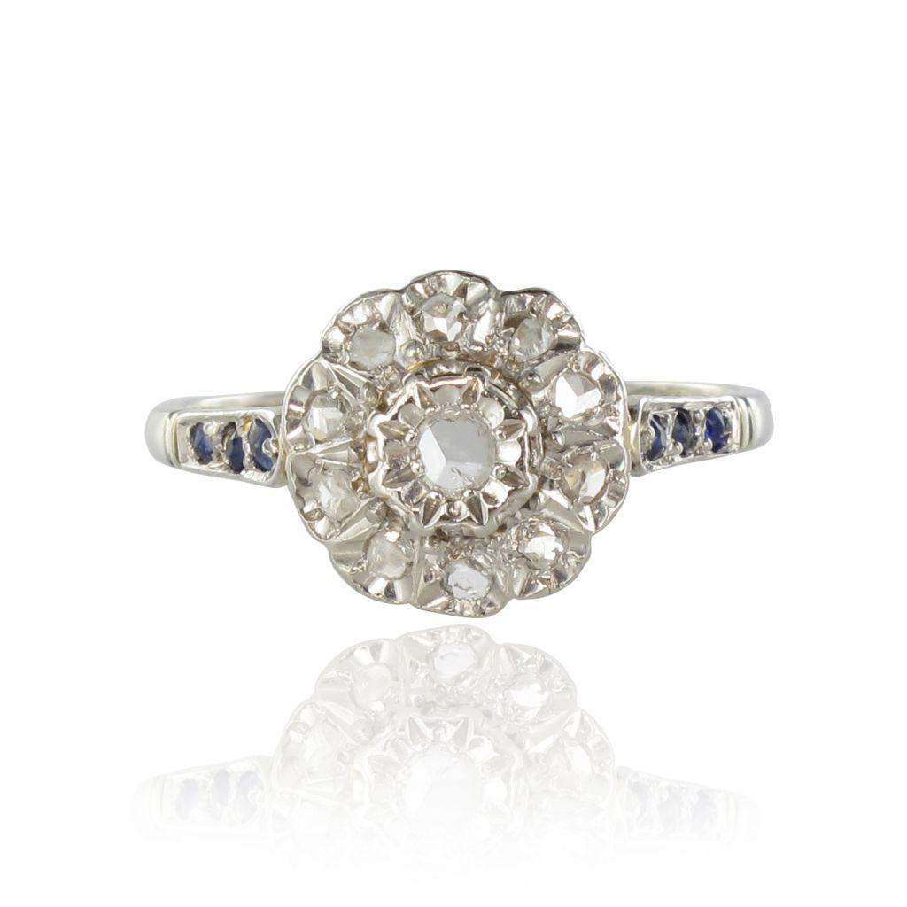 Bague ancienne marguerite diamants et saphirs
