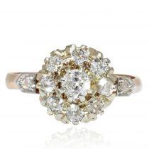 Bague ancienne marguerite diamants