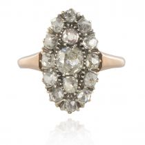 Bague ancienne marquise diamants or rose