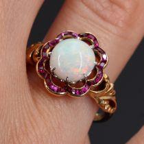 Bague ancienne opale et rubis calibrés