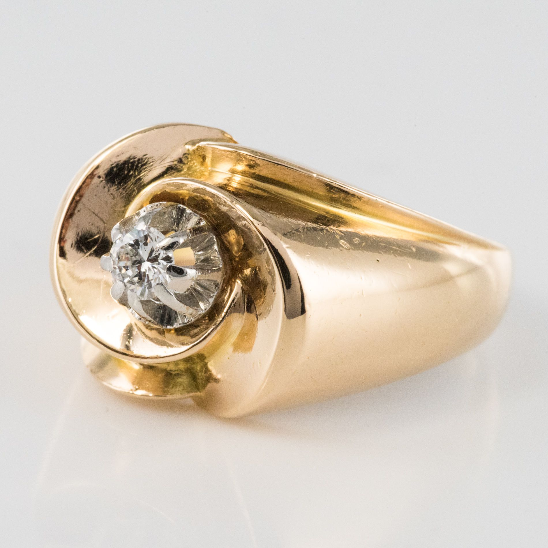 Bague ancienne or jaune diamant