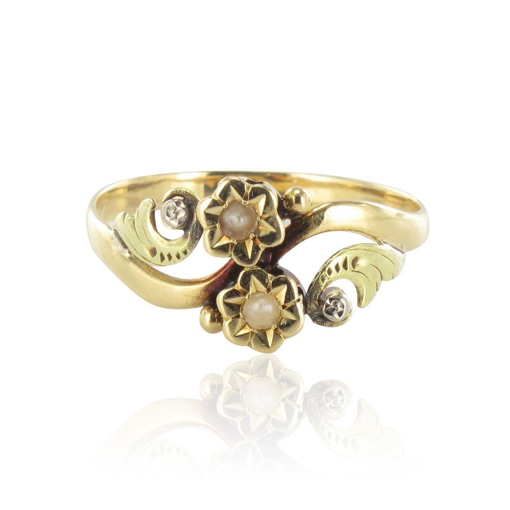 Bague ancienne or jaune perles fines