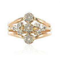 Bague ancienne or rose et diamants taillés en rose