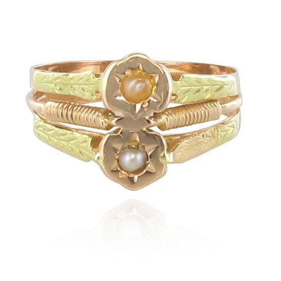 Bague ancienne or rose or vert perles fines