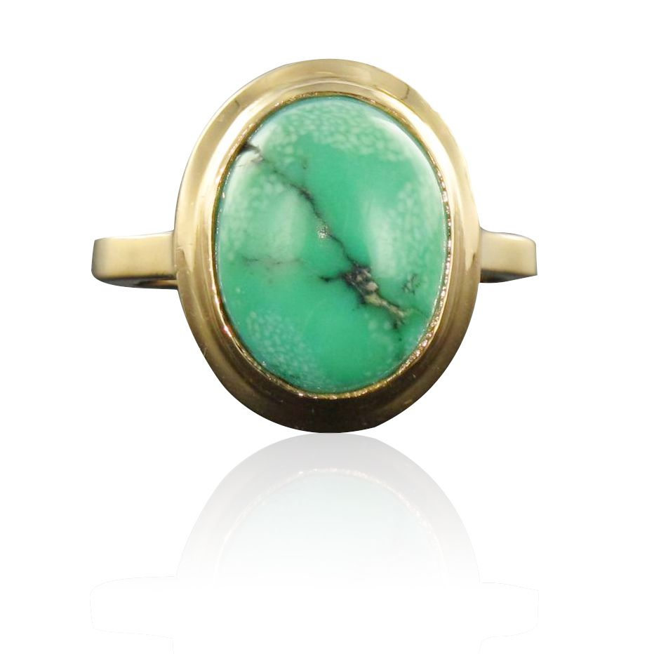 Bague ancienne or turquoise matrix