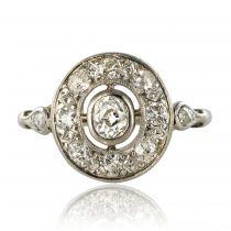Bague ancienne ovale diamants