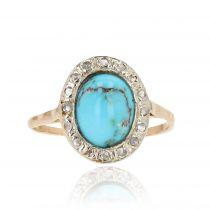 Bague ancienne ovale turquoise et diamants
