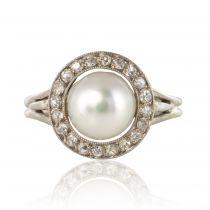Bague ancienne perle diamants ronde