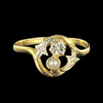 Bague ancienne perle et diamant toi et moi