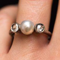 Bague ancienne perle et diamants taillés en rose