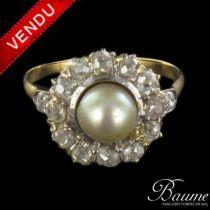 Bague ancienne Perle fine et Diamants
