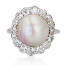 Bague ancienne perle mabé et diamants