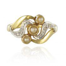 Bague ancienne perles diamants taillés en rose