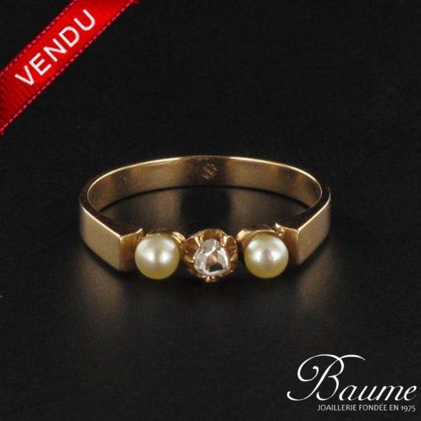 Bague ancienne perles et diamant