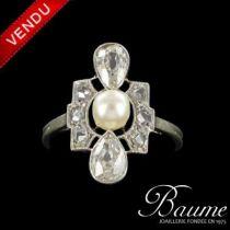 Bague ancienne Perles et Diamants