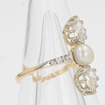 Bague ancienne perles fines et diamants poires