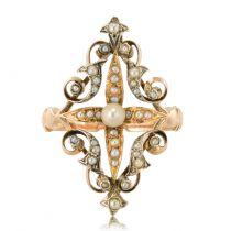 Bague ancienne perles fines or argent