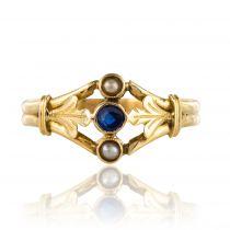 Bague ancienne perles fines saphir