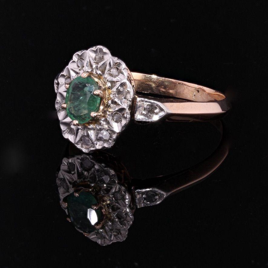 Bague ancienne pompadour émeraude diamants